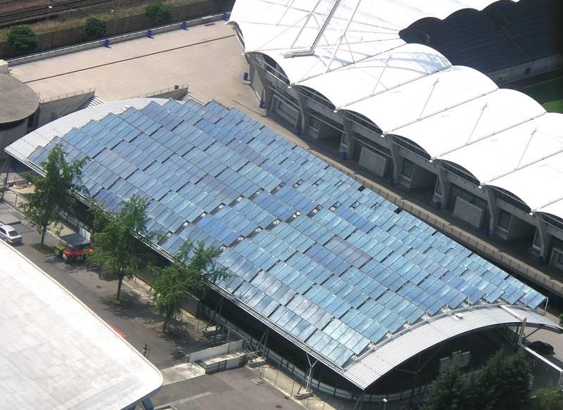 Collector field for district heating, Schwarzenegger arena, Graz, Austria