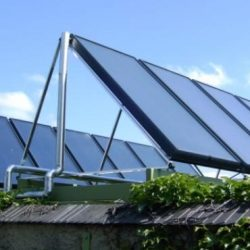 GASOKOL Solar Heat Europe – Collector field with on-roof collectors, installed on a rack