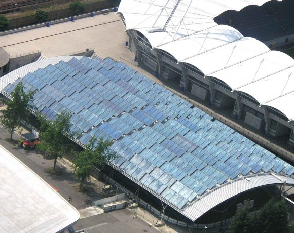 S.O.L.I.D Solar Heat Europe – Collector field for district heating, Schwarzenegger arena, Graz, Austria