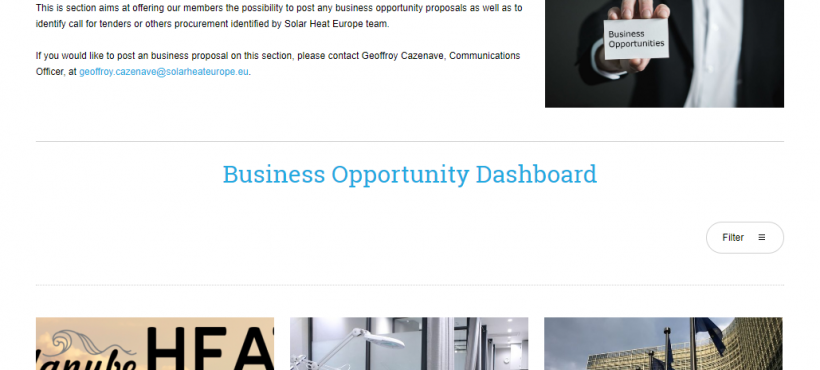 Solar Heat Europe creates a Business Opportunities Dashboard for its Members