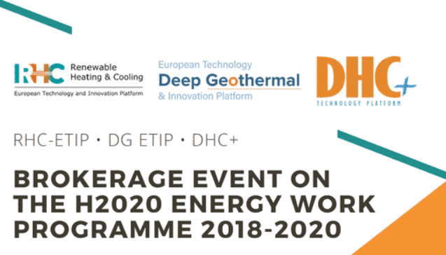 RHC-ETIP, DG ETIP and DHC+ brokerage event on the H2020 Energy Work Programme 2018-2020 – 16 November 2017 in Brussels