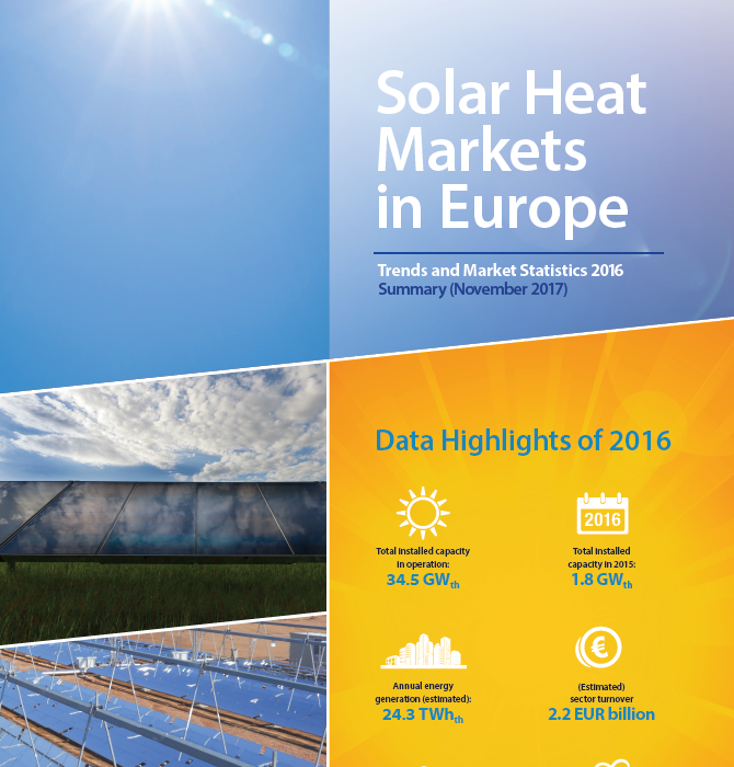 Solar Thermal Markets In Europe – Trends And Market Statistics 2016  (Published In November 2017)